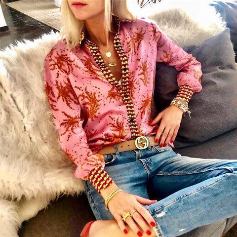 Autumn And Winter   Fashion Printing Long-Sleeved Blouses