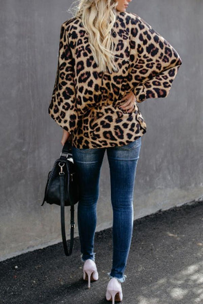 V Neck  Belt  Leopard  Blouses