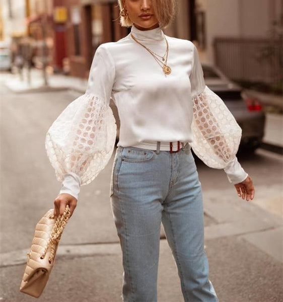 Fashion Pure Color Lace Bubble Sleeves Blouses