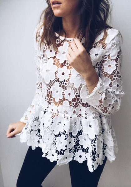 Fashion Pure Lace   Hollow Top