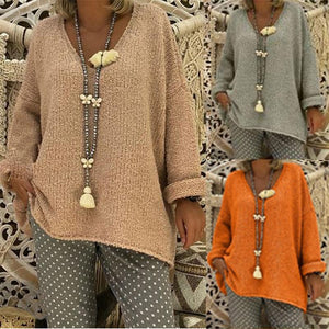 Fashionable And Relaxed V Neck Sweater
