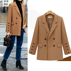 Chic Lapel Pocket Button Plain Long Sleeve Blazers