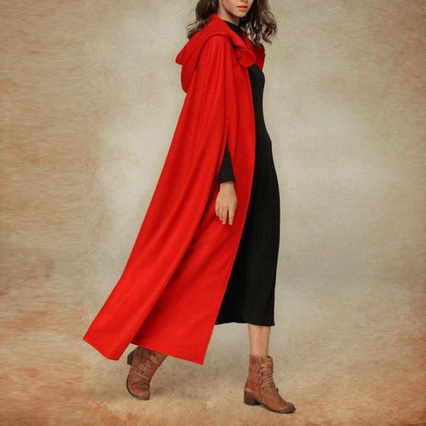 Hooded Plain Vintage Maxi Cape Outerwear