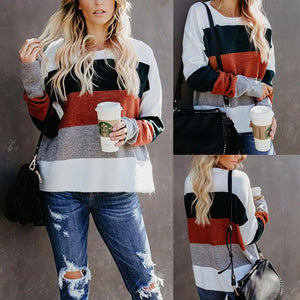 Round Neck Long Sleeve Color Block Fashion Sweaters