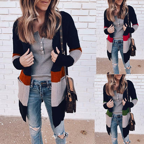 Fashion Color Block Long Sleeve Knitting Cardigans