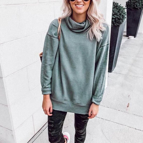Turtle Neck Long Sleeve Plain Sweatshirts