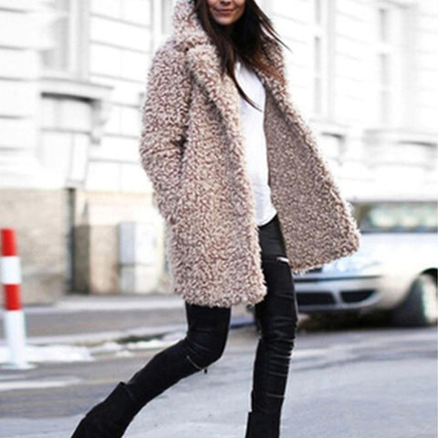 Lapel Long Sleeve Teddy Faux Fur Coats