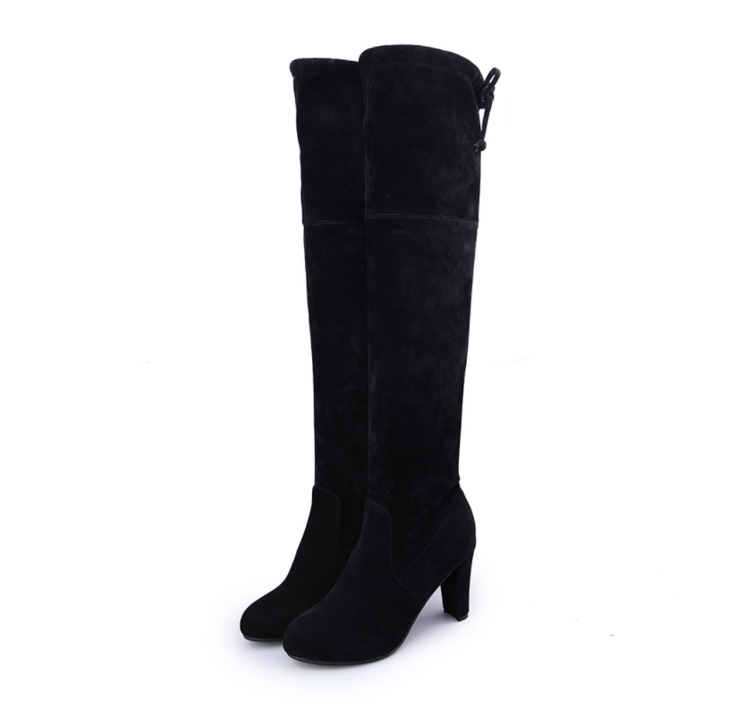 c1b9cad2093 Fashion Round Head High Heel Suede Frenulum Martin Boots – Shesideshop