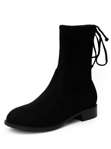 Thick Suede Black Medium Tube Martin Boots