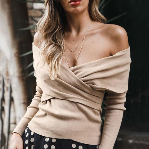 Off-Shoulder Chest-Front Cross-Knit Blouse