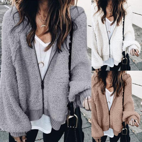 Fashion V Neck Long Sleeve Loose Outerwear