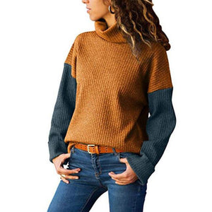High Neck  Patchwork Sweaters