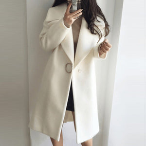 Lapel  Slit Pocket  Single Button  Plain  Woolen Coat