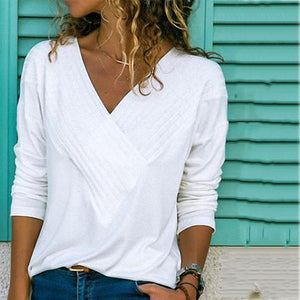 Brief V Neck Long Sleeve Plain Casual T-Shirts blouse