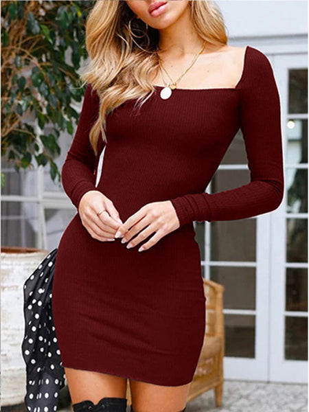 Fashion Sexy Long Sleeves Bodycon Mini Dress sweater