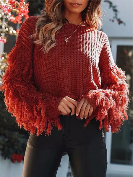 Fashion Loose Plain Fringe Sweater