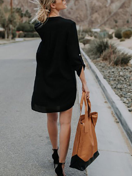 Commuting Long Sleeve V-Neck Pure Colour Loose Dress