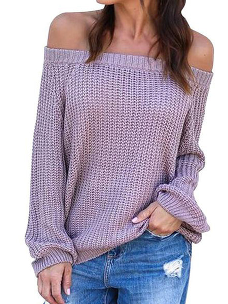 Sexy Boat Neck Pure Color Sweater