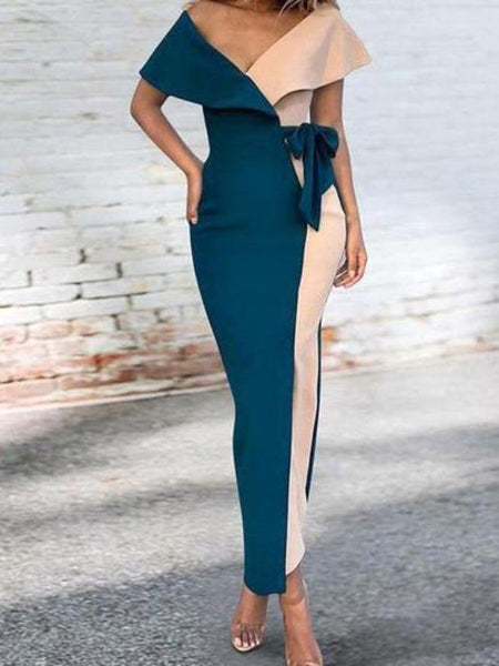 Sexy V-Neck Stitched Fashion Bodycon Dress
