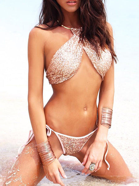 Sexy Steel Ring Halter Sequins Two-Piece Bikini