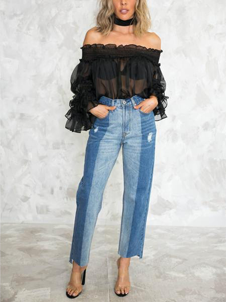 Fashion Sexy Perspective Chiffon Collared Top