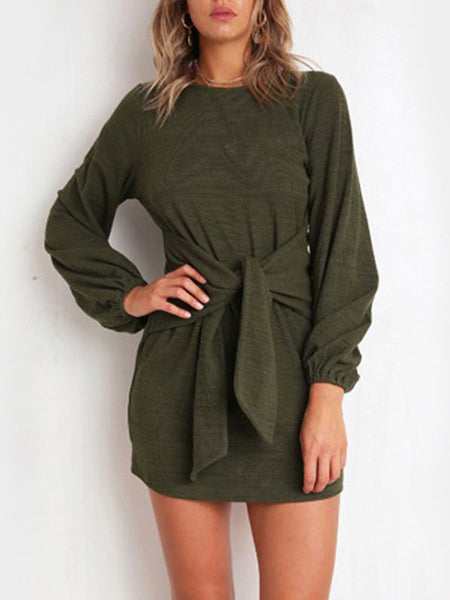 Casual Straps Solid Color Long Sleeve Dress