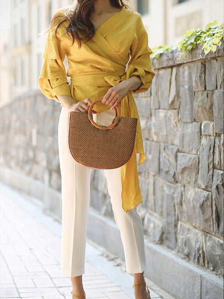 Sexy Plain Deep V Collar Puff Long Sleeve Bowknot Front Blouse
