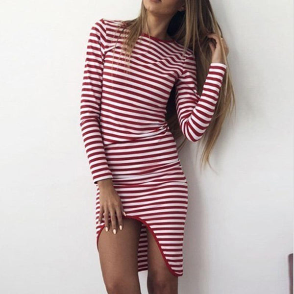 Crew Neck  Asymmetric Hem  Striped  Long Sleeve Bodycon Dresses