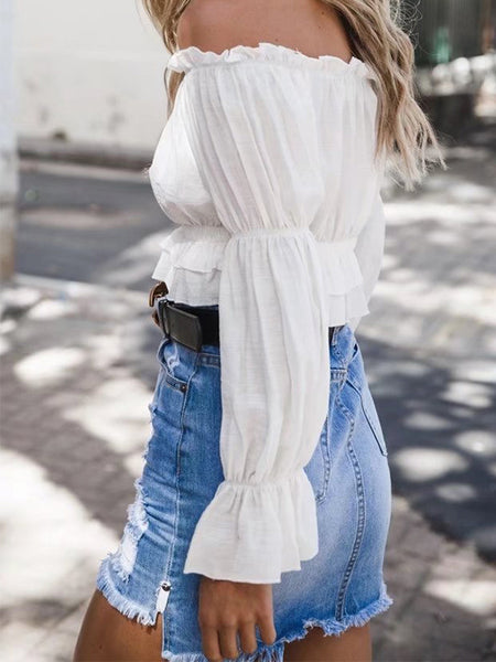 Sexy Plain Off Shoulder Long Sleeve Falbala Blouse