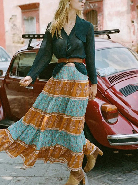 Bohemian High Waist Elastic Printed Skirt