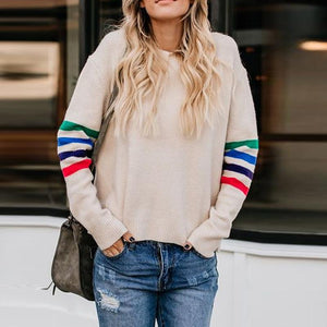 Round Neck  Contrast Trim  Plain Sweaters