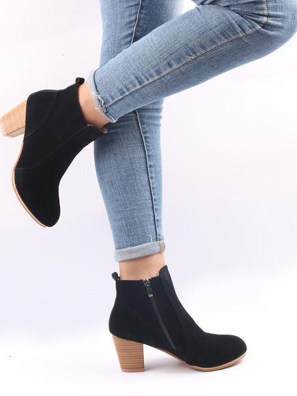 f22afdb9ccf Europe and the United States autumn and winter new matte side zipper thick  with ankle boots ...
