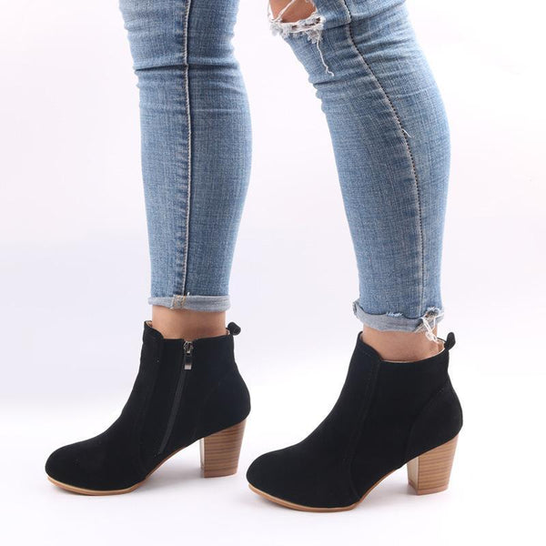 Europe and the United States autumn and winter new matte side zipper thick with ankle boots large size women's shoes