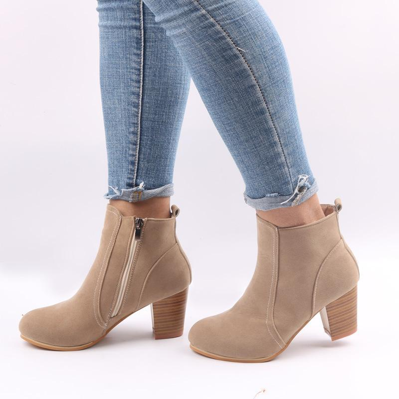 4ab9e5b3f5c ... Europe and the United States autumn and winter new matte side zipper  thick with ankle boots ...