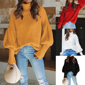 Elegant Long Sleeved High Neck Loose Sweater