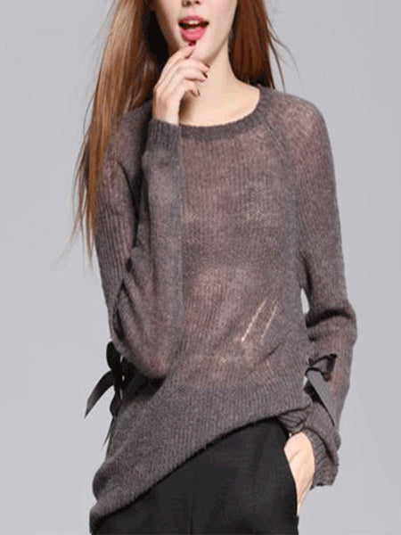 Women's O-Neck Knitted Loose Sweater Blouse Shirt