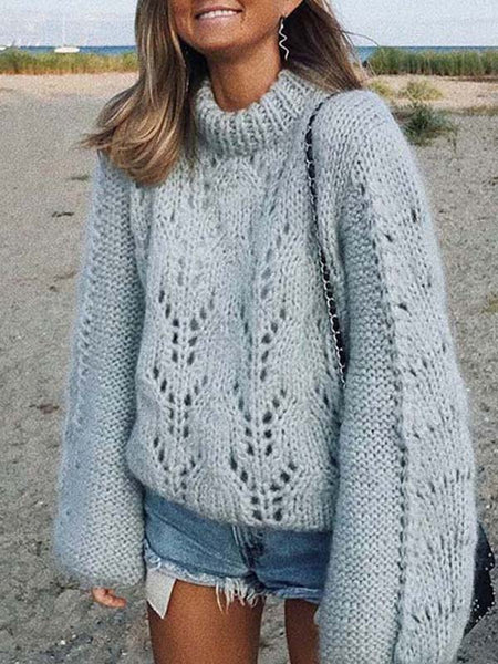 Openwork Lantern Sleeve Loose Crew Neck Sweater