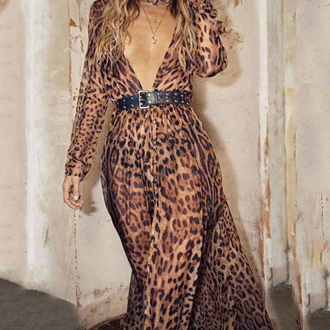 Sex Fashion With Belt  Leopard Print Maxi Dress