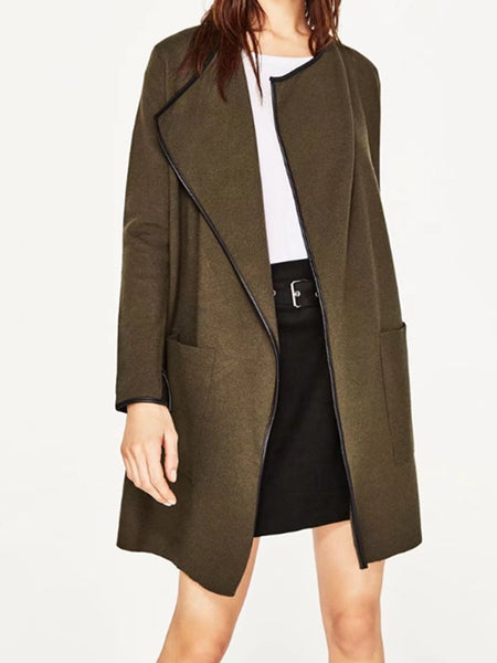 Imitation Leather Color Edge Lapel coat