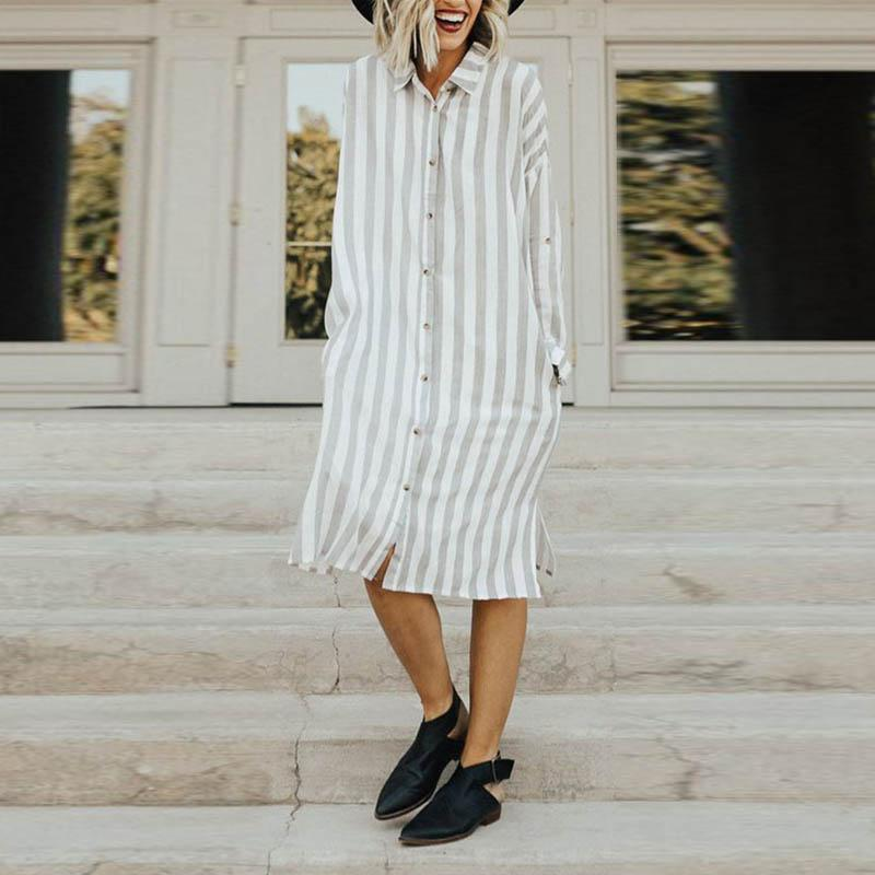 Turn Down Collar  Single Breasted  Striped  Long Sleeve Maxi Dresses