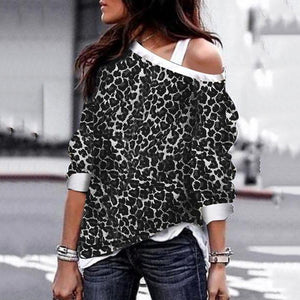 Autumn Winter Leopard   Print Long-Sleeved Sweatshirt
