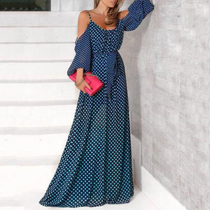 Sexy Off Shoulder Wave Point Maxi Dress