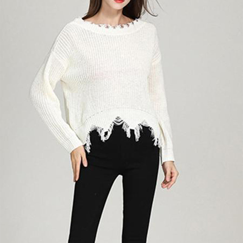 Sexy Back V-Neck Tassel Loose Sweater