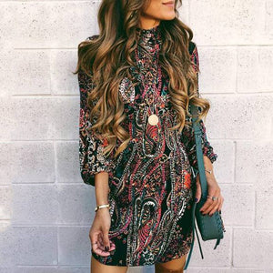 Autumn And Winter Fashion High-Collared Mini Dress