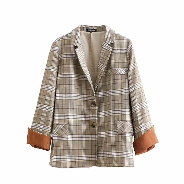 Single Breasted  Grid Suit Vintage Plaid Jacket