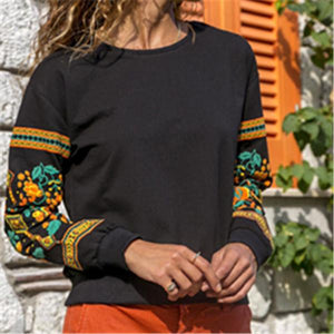 Fashionable autumn round neck print comfortable sweater