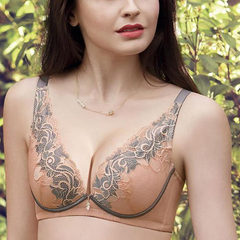 Sexy lace no steel ring aloe lining medium thick cup bra