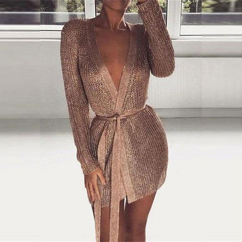 V-Neck Knit Nightclub Sexy Bodycon Mini Dress