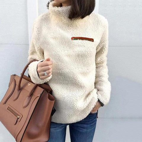 Fashion Zipper High Collar Warm Blouse