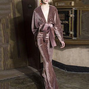 Sexy Deep V-Neck Bat Sleeve Corduroy Jumpsuit